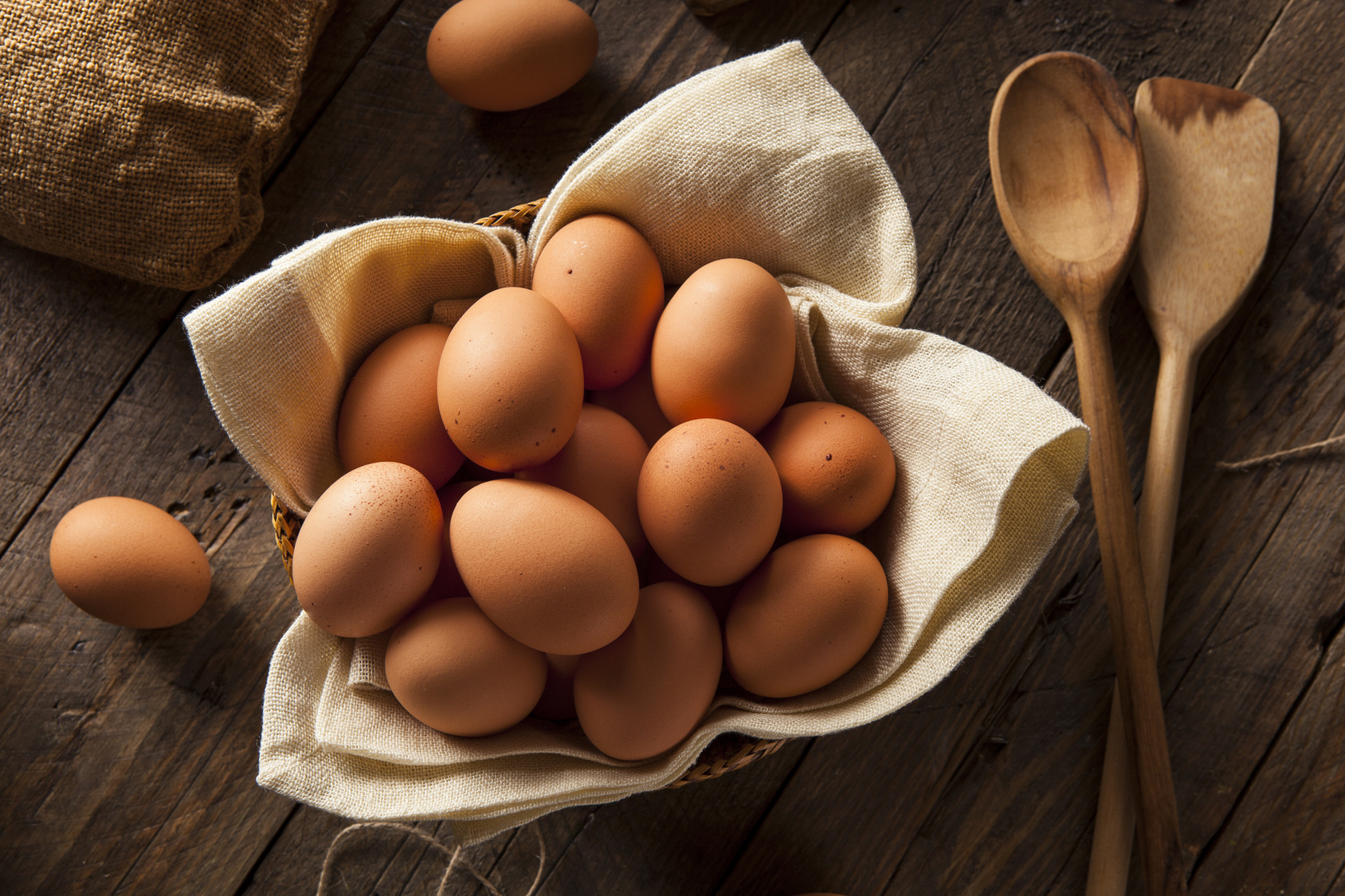 Raw Organic Brown Eggs in a Basket